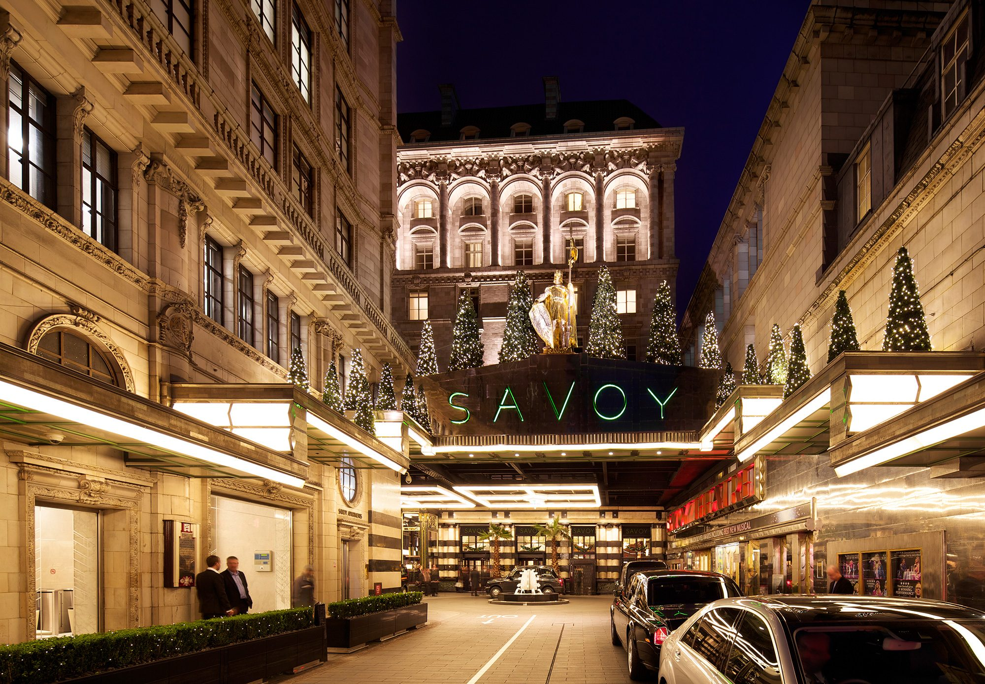 The Savoy main entrance at Christmas night time